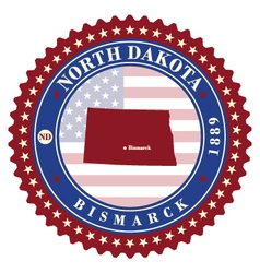 Label sticker cards of State North Dakota USA vector image