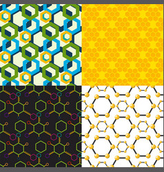 linear hexagon seamless pattern design vector image