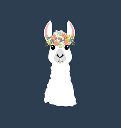 Llama in wreath vector