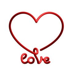 love word with red heart in line gradient style vector image