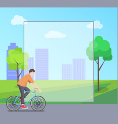 Man riding bicycle in city park colorful banner vector