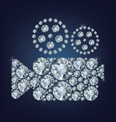 Movie camera icon made up a lot of diamonds vector