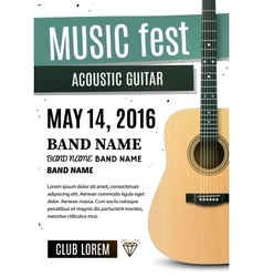 Music festival poster with acoustic guitar vector