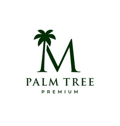 Palm tree m letter mark logo icon vector
