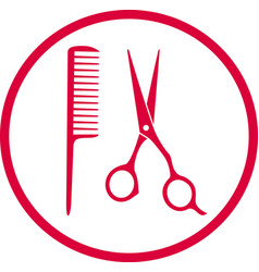 Pink hairdresser sign vector