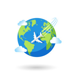 plane flying over earth vector image