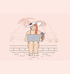 Remote freelance work and communication concept vector