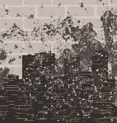 retro a city against a brick wall a vector image