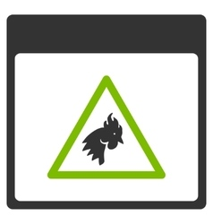 Rooster Danger Calendar Page Flat Icon vector image