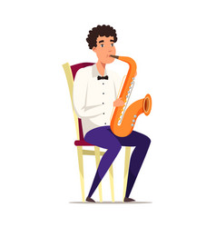 Saxophonist on chair flat vector
