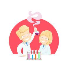 Schoolchildren do experiments in chemistry class vector