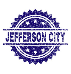 Scratched textured jefferson city stamp seal vector