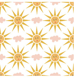 seamless pattern pink clouds and happy suns vector image