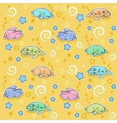 Seamless pattern with sleeping rabbits vector