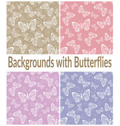 Seamless patterns outline butterflies vector