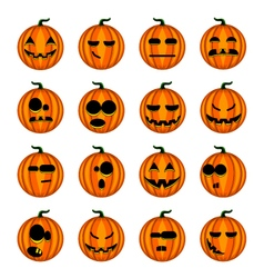 Set cute cartoon pumpkins with different emotions vector image