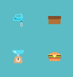 set of cooking icons flat style symbols with bread vector image