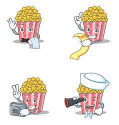 set of popcorn character with waiter menu photo vector image