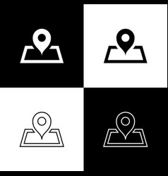 Set placeholder on map paper in perspective icon vector