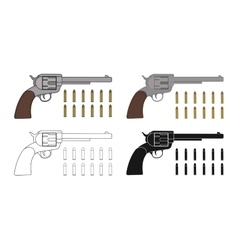 set six-gun revolvers with bullets game vector image