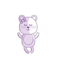 Silhouette cute bear girl wild animal character vector