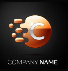 Silver letter c logo gold dots splash and bubble vector