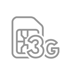sim card with 3g network line icon mobile slot vector image