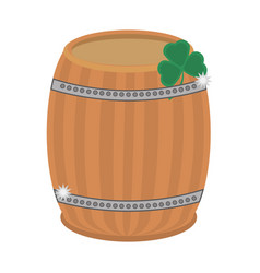 St patricks day wood barrel clover vector