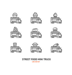 street food truck sign thin line icon set vector image