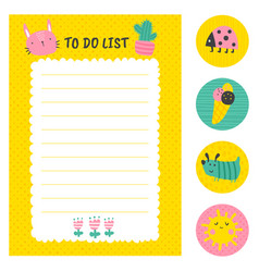 sunny to do list vector image