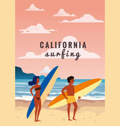 surfers man and woman couple on beach coast vector image