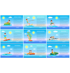surfing and jet ski swimming and donut ride cards vector image