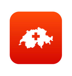 Switzerland map icon digital red vector