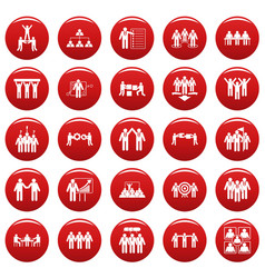 Team building training icons set vetor red vector