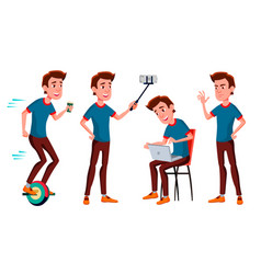 Teen boy poses set funny friendship for vector