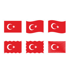 turkey flag set official colors and proportion vector image