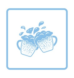 Two clinking beer mugs with fly off foam icon vector image