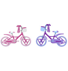 two cute kids bicycles vector image