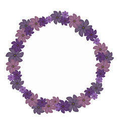 Violet circular border with flowers vector