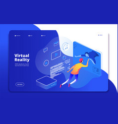virtual reality landing people digital mobile vector image