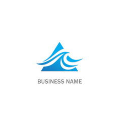 water wave ocean triangle logo vector image