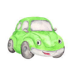 Watercolor cute cartoon car clipart vector