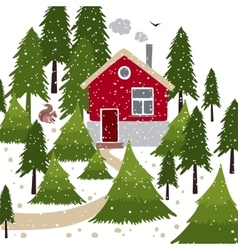 Winter snow covered forest and rural house with a vector image
