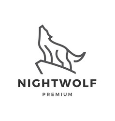 wolf line outline logo icon vector image
