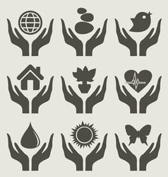 World hand vector image