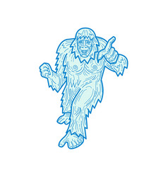 Yeti or abominable snowman mono line vector