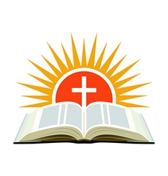 Bible sunset and cross Church logo concept vector image