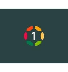 Color number 1 logo icon design Hub frame vector image