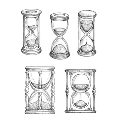 Hourglasses and sandlgasses sketches set vector image