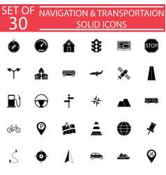 Navigation solid icon set transport signs vector